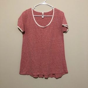 Tee Shirt Classic Simple Lularoe Pink White